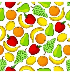 Tropical and garden fruits seamless pattern vector image vector image