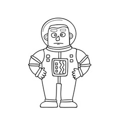 cartoon astronaut in doodle vector image
