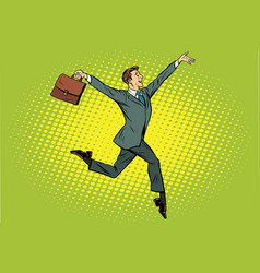 Elegant funny businessman with briefcase running vector