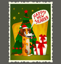 happy new year card retro style greeting vector image vector image