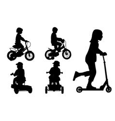 kids on bikes vector image