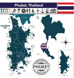Map of Phuket vector image vector image