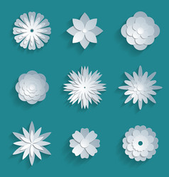 paper flowers set 3d origami icons vector image vector image