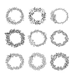 set of beautiful wreath vector image