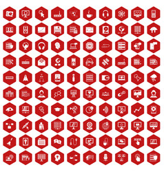 100 on-line seminar icons hexagon red vector