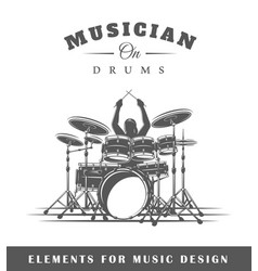 drummer plays the drums vector image vector image