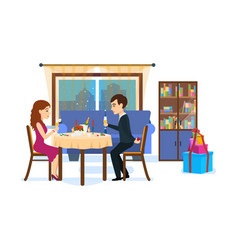 festive dinner of couple vector image vector image