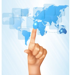 finger touching world map on a touch screen vector image vector image