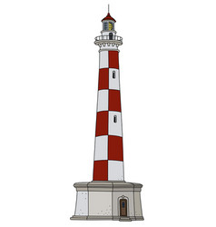 red and white lighthouse vector image vector image