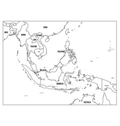 south east asia political map black outline on vector image