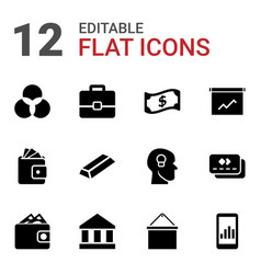 12 finance icons vector