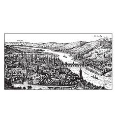 A german town on the main river possibly wrzburg vector