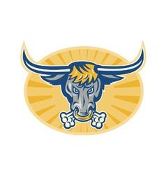 Angry Texas Longhorn Bull vector