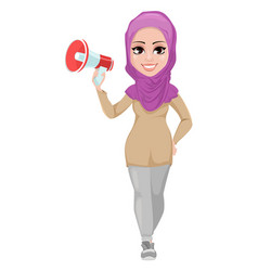 arabic business woman smiling cartoon character vector image