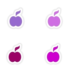 Assembly realistic sticker design on paper apple vector