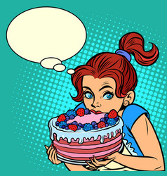 beautiful young woman eating cake desserts vector image