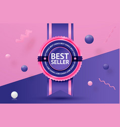 best seller sticker on abstract scene vector image
