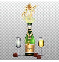 Bottle of champagne with glasses flat poster vector