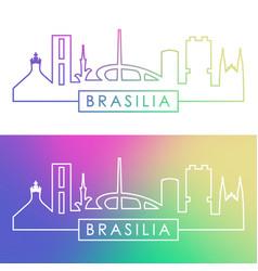 brasiliai skyline colorful linear style editable vector image