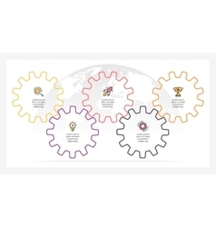 Business infographics Timeline with 5 gears vector image