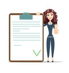 Businesswoman with checklist vector