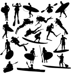 Canoe silhouette surfing and diving vector