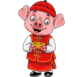 cartoon happy little pig with traditional chinese vector image