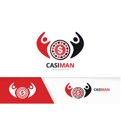 Casino and people logo combination chip vector