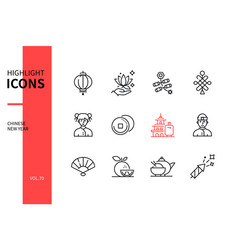chinese new year - line design style icons set vector image