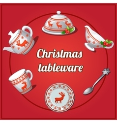 Christmas set of dishes 6 elements with reindeer vector image