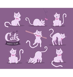 collection of of cute cat in different poses vector image