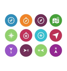 Compass circle icons on white background vector