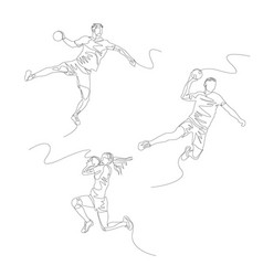 Continuous one line handball player set summer vector