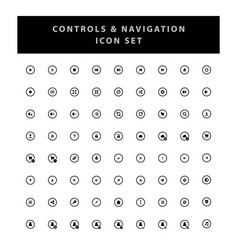 control and navigation icon set with glyph style vector image