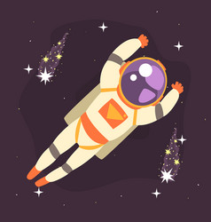 Cosmonaut floating in outer space vector