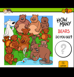Counting bears educational activity game vector
