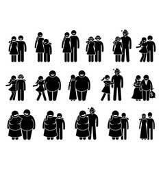 Couple with different body sizes and physical vector