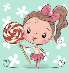Cute cartoon girl with lollipop vector