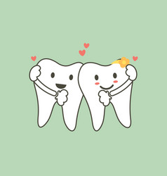 Cute tooth couples in love and hug each other vector