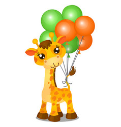 cute toy giraffe and inflatable colorful balls vector image