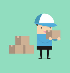 delivery man in blue uniform holding boxes vector image