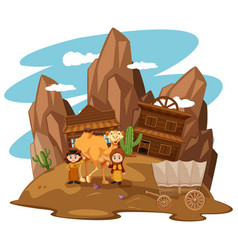 Desert scene with kids and camel vector