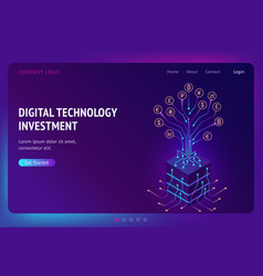 digital technology investment isometric landing vector image