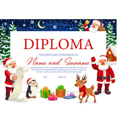 Diploma certificate with christmas background vector