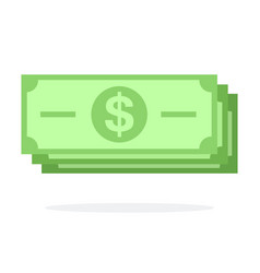 dollar banknotes flat icon isolated vector image