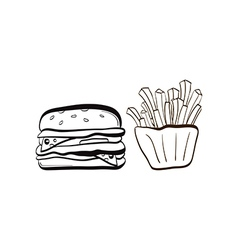Doodle burger and fries icon vector
