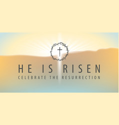 easter banner with a shining cross and inscription vector image