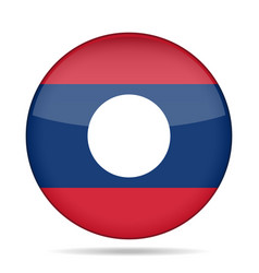 Flag of laos shiny round button vector
