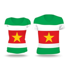 Flag shirt design of Suriname vector