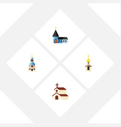 Flat icon christian set of structure religion vector